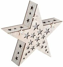 Battery Operated Illuminated Wooden Christmas Light Up Star Box Decoration