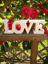 NEW WHITE WOODEN FREE STANDING LOVE LETTERS SIGN PLAQUE DECORATION GIFT 18CM