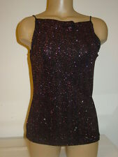 My Michelle black red gold shiny glittery cami tank top strappy party Made USA-L