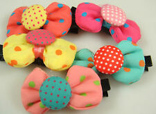 "Wholesale 3pcs girl baby toddler 2""boutique Hair Bow mixed ribbon with clips w7r"