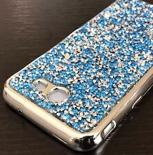 Samsung Galaxy J3 EMERGE - Hard Rubber Gummy Case Cover Blue Diamond Bling Studs