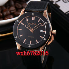 44mm parnis black dial rose gold case automatic mechanical mens watch PN416
