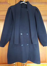 Navy size 12 wool button front short coat with scarf collar & gathered sleeves