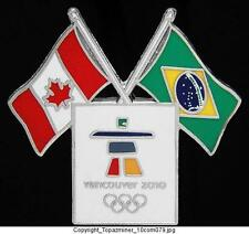OLYMPIC BADGE PIN 2010 VANCOUVER CANADA DUAL FLAGS BRAZIL