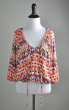 BOSTON PROPER NWT $79 Stretch Ikat Stripe Poet Open Sleeve Top Size Small
