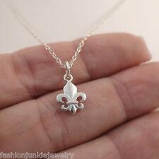 Tiny Fleur-de-lis Necklace - 925 Sterling Silver - Fleur De Lys Symbol Charm NEW