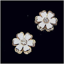 2pcs White enamel gold alloy rhinestone flower cabochons-diy phone decor (C0103)