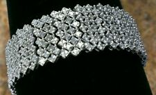 SALE*NEW*WIDE STERLING SILVER 2 CARAT GENUINE DIAMOND TENNIS COCKTAIL BRACELET