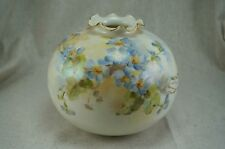 American Belleek Willets ROUND VASE with Ruffled Neck -  Artist Signed S. WEBER
