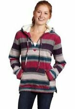 NWT Roxy Lime Ice Wool Blend Kangaroo Pocket Striped Fleece Pullover Hoodie S