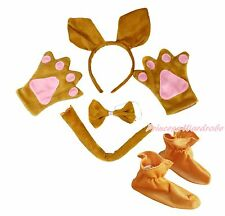 Halloween Kangaroo Headband Bow Tail Paw Shoes 5pc Child School Party Costume