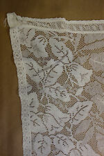 Antique Vintage Ivory Victorian Lace Curtain Panel w/ Foliage-Inspired Pattern