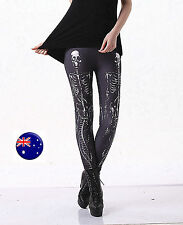 Lady Halloween Party Skull Skeleton Bones Costume Slim Skinny Leggings Pants