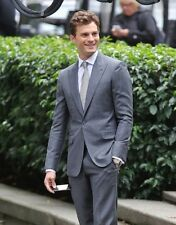 LUTWYCHE 2btn mens Hand Tailored Kiton Grey Stripe Wool Suit 46L $6995 Bespoke