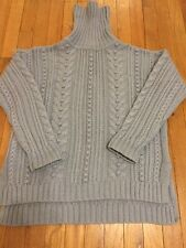 ANN TAYLOR Wool Blend Cable Gray/Blue Turtleneck Pullover Size L/M $149 NWOT