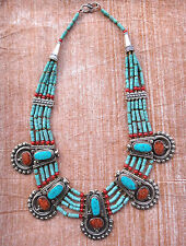 Collier Nepalais Tibétain Ethnique Turquoise Corail Gypsy Boho