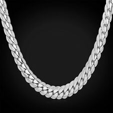 MEN'S STAMPED 18K WHITE GOLD SNAKE LINK CHAIN NECKLACE 22 INCH (USA)