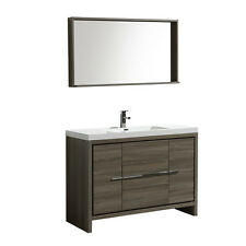 "48"" Bathroom Modern Single Lavatory Sink Bathroom Vanity Bath Cabinet Mirror"