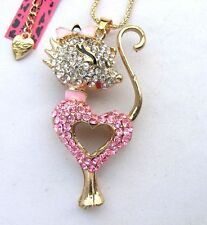 Betsey Johnson shiny Pink crystal Pretty Small cat pendant Necklace#358L,F