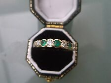 Women's 9ct Gold Emerald Ring Weight 1.8g Size P Stamped