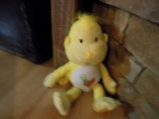"12"" Care Bear Cousin Playful Heart Monkey Plush Yellow Heart Tummy Party Hat"