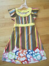 Girl TCP BROWN YELLOW PINK TURQUOISE VERTICAL STRIPES FLOWERS Dress GUC 6x 7