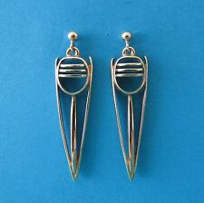 OLA GORIE 9ct Gold 37mm Drop Stud Earrings - Weight 5.57g - Edingburgh 1993 OMG