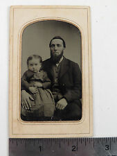 Antique Tintype Victorian Photograph Father Daughter Baby Girl Beard Identified