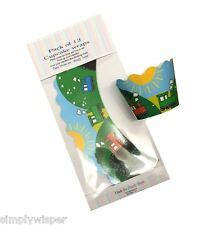 12 Toy Train Cupcake Wrappers Cake Decoration Wraps Laminated Card