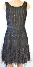 OSCAR DE LA RENTA Black+Nude Sleeveless  Sequined Beaded Feather Dress Sz 12