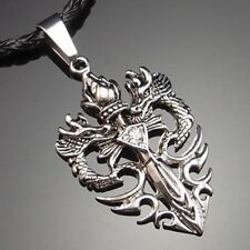 Wholesale 10 Sets of Mens Dragon CZ Sword Pewter Pendant Free Necklace PP#252