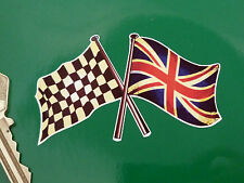 AGED Style Crossed CHEQUERED & UNION JACK Flag STICKER 75mm Race Racing Classic