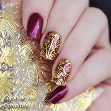 1 Sheet Gold Embossed Flower 3D Nail Art Stickers Decals For Manicure #BP052