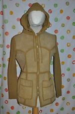 VINTAGE WOMENS medium hooded LEATHER KNIT BROWN Cardigan SWEATER JACKET MAD MEN