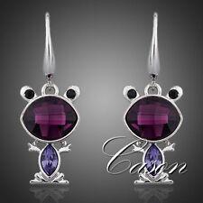 Austrian Crystal 18K White Gold Plated Purple Lovely Frog Women Drop Earrings