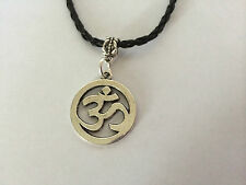 Tibetan Silver OM OHM AUM YOGA HINDI OMKARA SYMBOL Charm leather choker Necklace