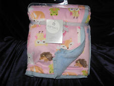 CARTERS BABY GIRL PINK BLUE OWL BIRD HEDGEHOG SQUIRREL FOX BUNNY SHERPA BLANKET