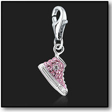 925 Sterling Silver Charm Clip on Pink Sneaker with Swarovski Crystal 3D Charms