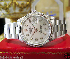 Mens ROLEX Oyster Perpetual Date 34mm White MOP Stainless Diamond Watch