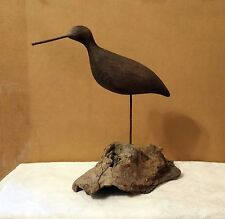 "Large Old Hand Carved Folk Art Wood Shore Bird Decoy- Driftwood Stand 12"" tall"