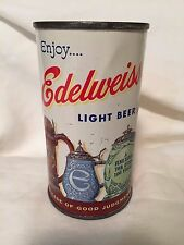 Enjoy Edelweiss Light Beer 12oz Flat Top Beer Can by Drewrys Strong Beer Lid