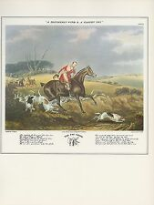 """1974 Vintage HUNTING """"THE FOX CHASE, SOUTHERLY WIND"""" COLOR Art Print Lithograph"""