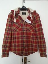 Burton Mens Red Borg Lined, Check Hoodie Jacket (Shacket) Shirt Coat BNWT Size S