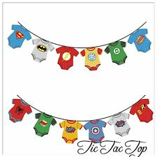 Superhero BOY Banner Bunting Room Decoration Party Supplies Flag Batman Avengers