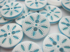 "10 Snowflakes Buttons White Turquoise Petal 13mm (1/2"") Clothing Sewing Buttons"