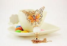 Cute Butterfly Sparkly crystal charm Car Purse Handbag Key chain key ring Finder