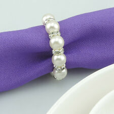 12pcs white Pearls Napkin Ring Handmade Serviette Buckle Holder Wedding Dinner