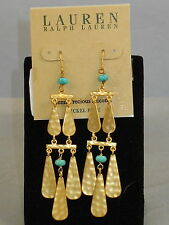 Ralph Lauren Hammered Goldtone Nickel Free Turquoise Bead Chandelier Earrings