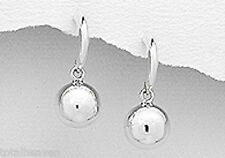 "1"" Solid Sterling Silver 25mm Ball Hoop Earrings Posts with Friction Backs 3g"