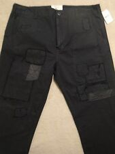 PRPS GOODS CO. Black Tapered Patched Repaired Khaki Pants 36 x 30 Original $400+